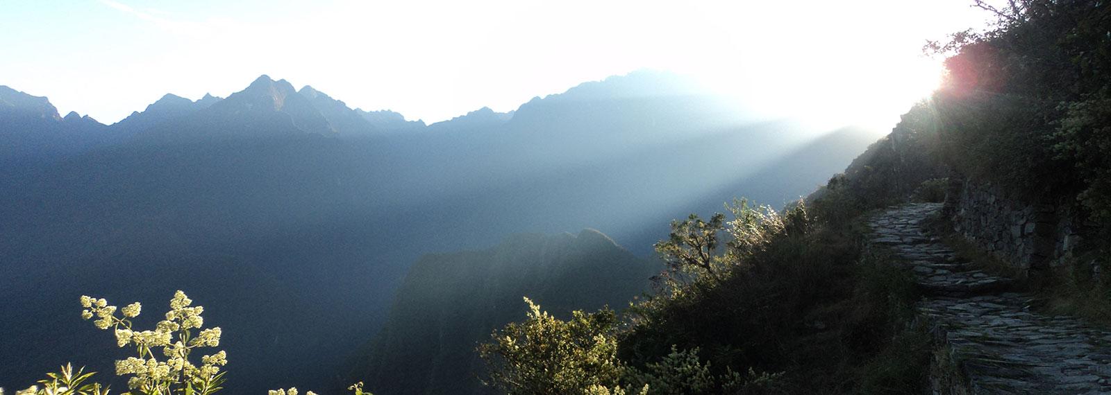inca trail trek view of machu picchu