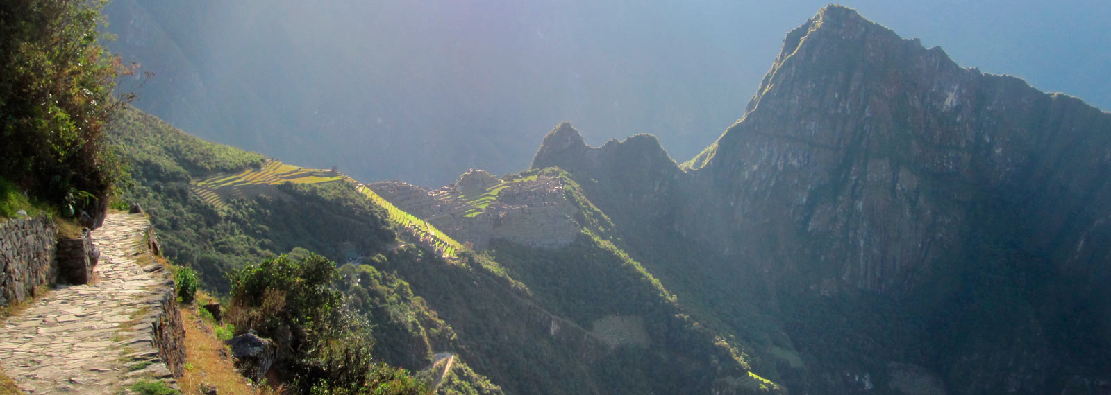 inca trail first sight of the day off machu picchu
