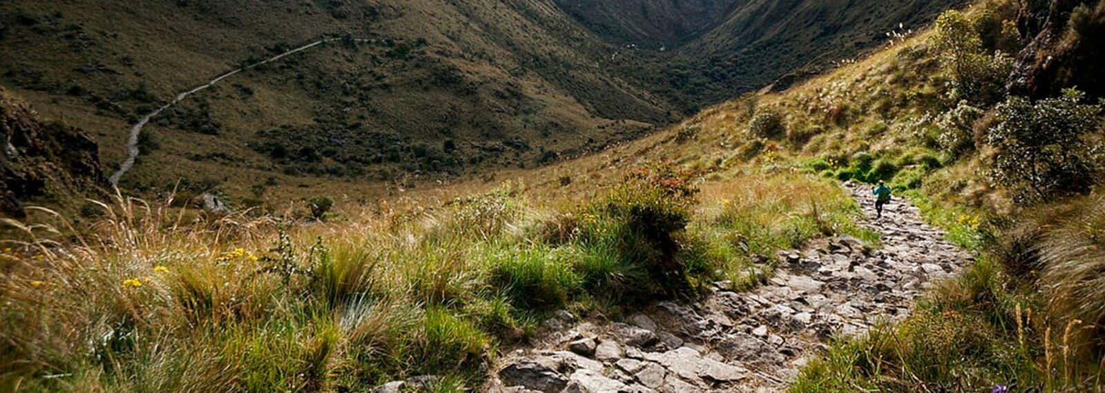 inca trail path to machu picchu